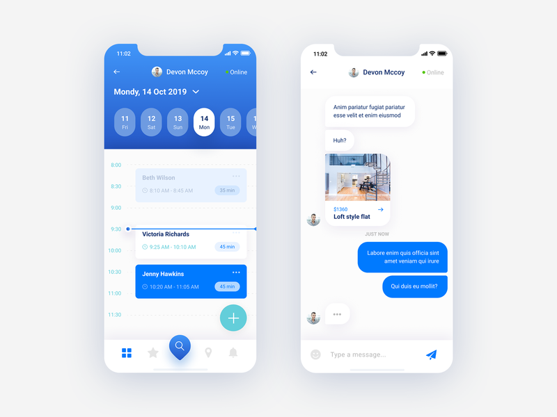 Flato - Real estate mobile app chat and schedule meeting iphone app template iphone app design iphone ui kit mobile ui kit figmadesign sketch iphone design iphone application calendar app real estate iphone app arranging meetings chat app mobile app blue app ui design figma ux ui