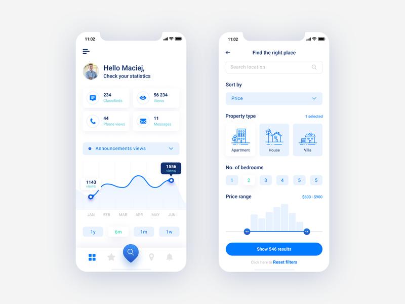 Flato - Real estate mobile app statistics and filters iphone app mobile app charts chart statistics filters iphone ios blue real estate mobile app blue app ui design ux design figma ui