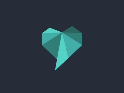 Heartfelt reviews mint comment review lowpoly heart logo
