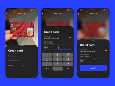 Credit card checkout #DailyUI dark mode dailyui ios form creditcard pay ui mobile app scan card