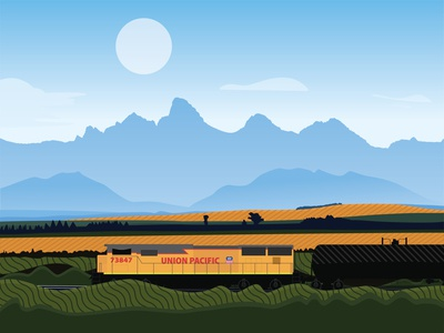Train union pacific train utah label tetons farm idaho mountains adventure adobe design vector illustration