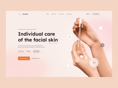 Cleanskin | Skincare website heroscreen🧴 mockup design graphic design free visual identity ui ux page design cosmetics get started product page hero section hero landing page web app face skincare skin healthcare design app product design beauty