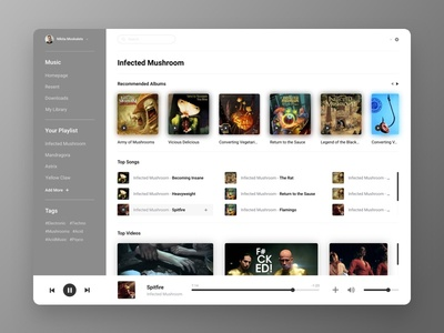 Music UI Card - Infected Mushroom interface uxui design card site page infected mushroom workout website lanp dashboard