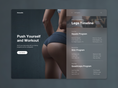 Fitness UI Card timeline legs girl design web workout gym sport fitness training card ui