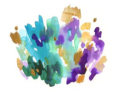 June, Alexandrite crystal gem stone gem teal purple gold watercolor alexandrite june birthstone