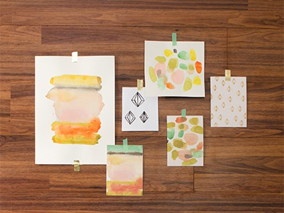 Mara Mi Collection gold foil wash stripes dots graphic design product design product stationery prints art watercolor