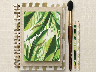Mara-Mi Havana Palm Collection print. gold surface design surface art pattern journal notebook stationery palm