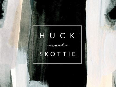 Huck and Skottie modern monochromatic abstract art type graphic design design wash watercolor word mark logo branding