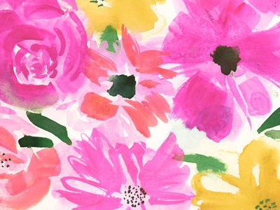 New Work! stationery pattern print bright painted floral floral watercolor painting graphic design design new work