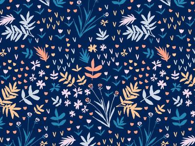 New Pattern Work hand drawn botanical floral print and pattern print design surface art pattern
