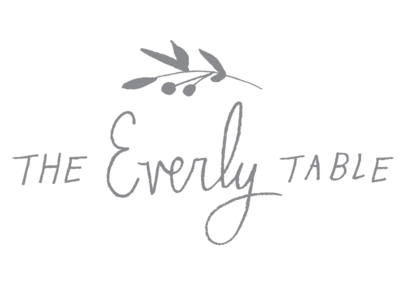 The Everly Table graphic design playful hand made floral script hand drawn type type hand drawn botanical branding logo