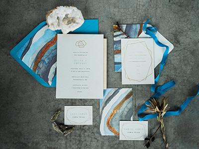 Geode Wedding Invitations copper geometric geode art watercolor pattern print graphic design wedding suite stationery wedding invitations wedding