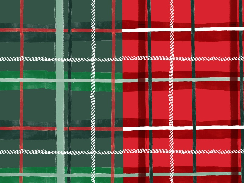 Green Plaid vs. Red Plaid christmas hand drawn surface design holiday plaid pattern print and pattern print pattern painted paint plaid