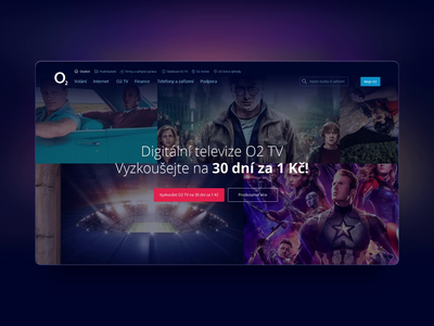 O2 TV Landing Page Live entertainment landing page live movies o2 czech streaming app user interface design user experience
