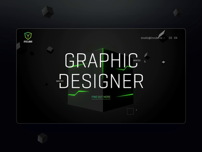 Graphic Designer Wanted! animation glow green website dark interaction job career designer three.js cube webgl