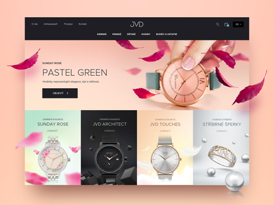 Vlahova.cz – JVD Watches & Jewellery clear alarm pastel family 90s czech eshop ecommerce uiux ui ring necklace elegant website jewellery