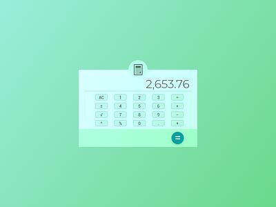 DailyUI #004 - Calculator teal color vibrant minimal clean ui flat calculator dailyui