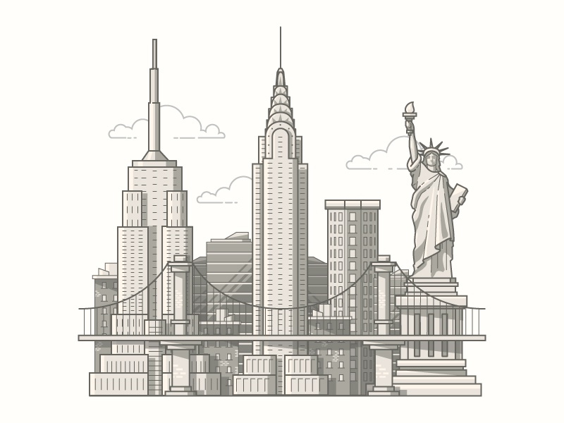 Favori New York Illustration by Drew Ellis - Dribbble EH64