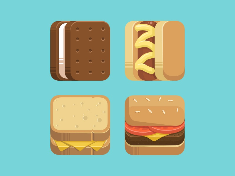 Free Food Icons food cheeseburger icon ice cream sandwich grilled cheese hot dog illustration ios americana