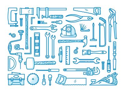 Tool Illustrations/Icons nji media njimedia nji tools tool illustration icons icon line hard hat woodworking wood grain
