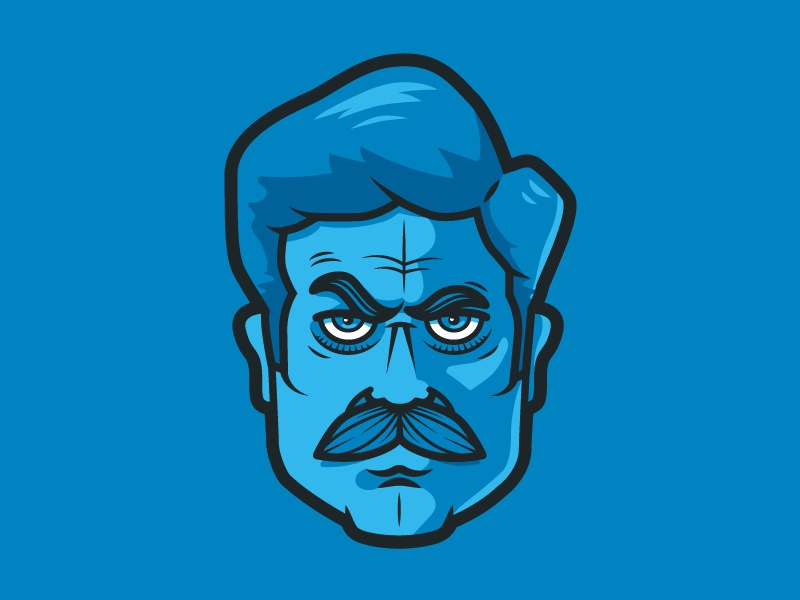 Ron Swanson  parks and rec parks and recreation blue eyebrows mustache sticker line illustration ron swanson