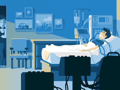 Hospital scene health medical lighting mood sad illustration bed ill sick hospital