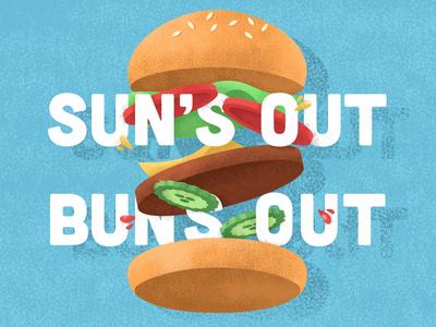 Sun's Out, Buns Out fourth of july july fourth fourth hamburger illustration texture food cheeseburger burger bun sun