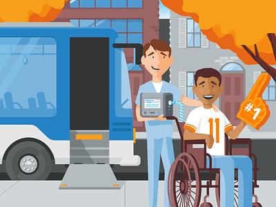 #1 Fan sports fan caregiver medical health care wheelchair city bus