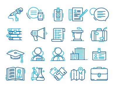 Icon Exploration staff research education scholar megaphone microphone illustration line icon icons
