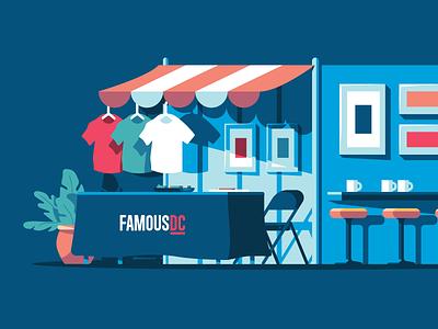 Pop Up Shop illustration table prints frames stool tshirt store merch swag shop