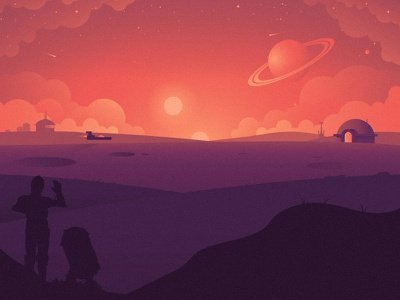 Tatooine desert hope sunset sun speeder c3po r2 illustration star wars tatooine