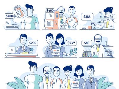 Infographic Illustrations Cont. science pharmacist illustration pharmacy insurance pills line meds medical