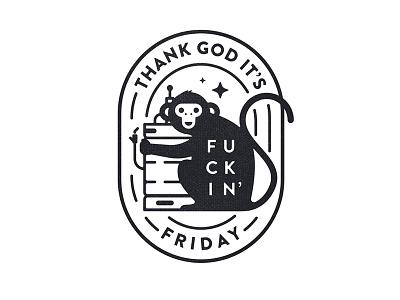 TGIFF beer keg illustration badge tgiff tgif friday monkey