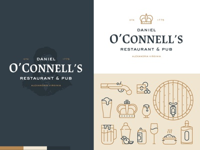 Daniel O'Connell's badge system brand whiskey beer icons restaurant irish pub