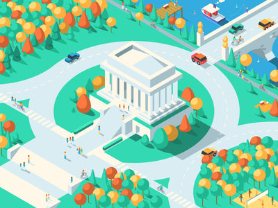 Lincoln Memorial perspective building monument memorial washington dc isometric iso