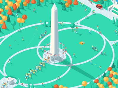 Washington Monument segway kite people trees landscape isometric iso buildings washington monument washington dc