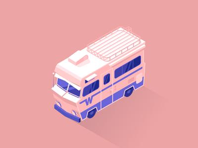 Winnebago cross country road trip purple fake 3d isometric pink truck car caravan rv winnebago