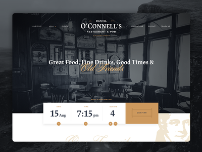 O'Connell's WIP food alcohol beer drinks reserve reservation pub website irish ui web