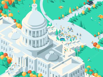 Capitol illustration architecture isometric building usa america capitol government