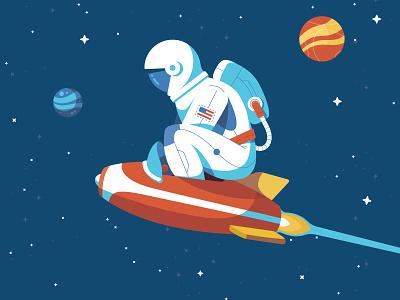 Rocketman interstellar stars explore spaceship space planet illustration astronaut astro
