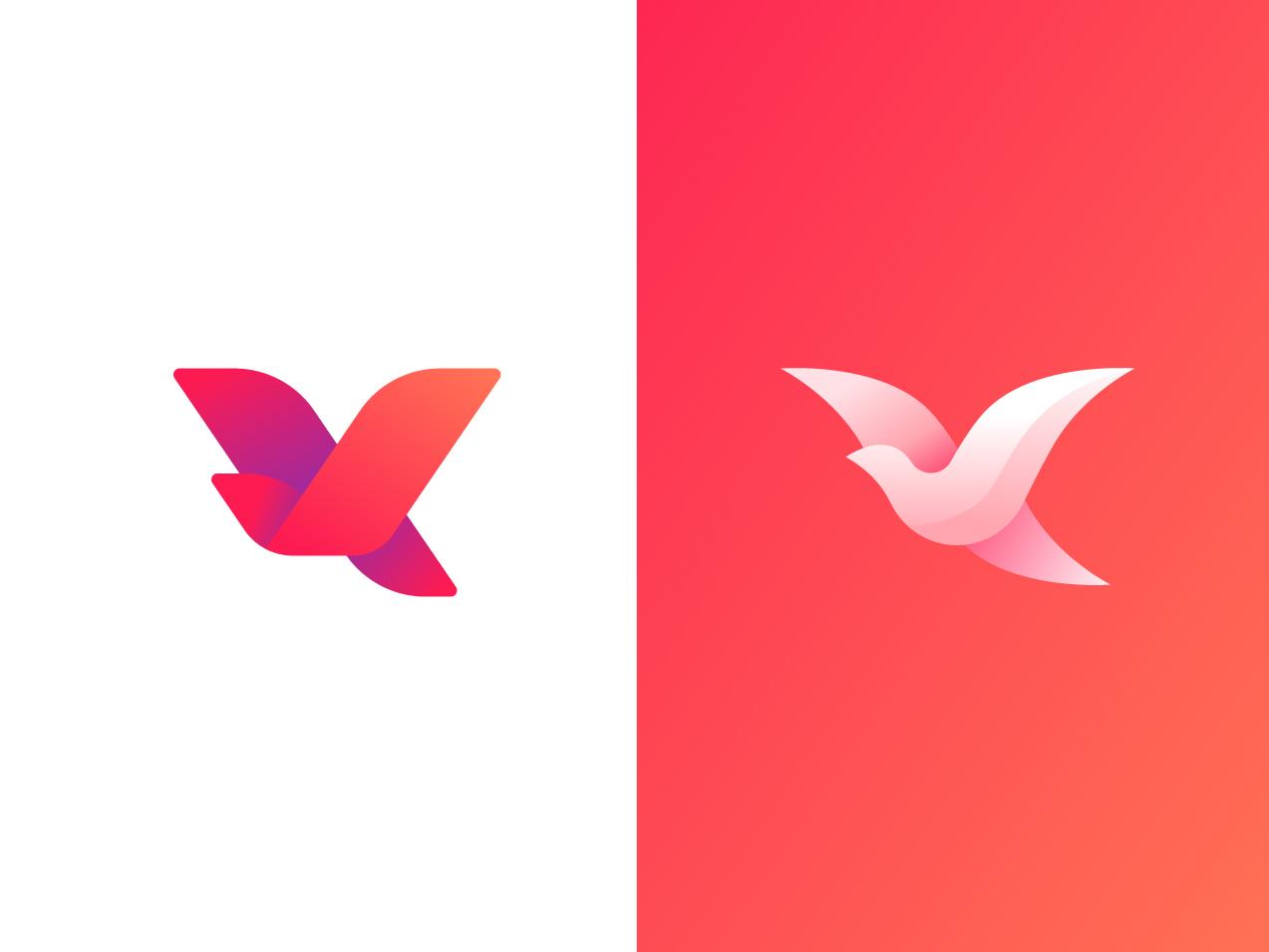 Birds illustration logos vibrant gradient brand mark c v dove bird logo