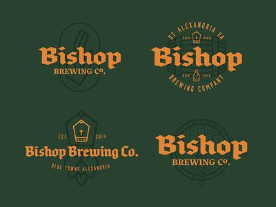 Bishop Brewing Co. tap hops barrel bishop pope brand branding logo brewery brewing beer