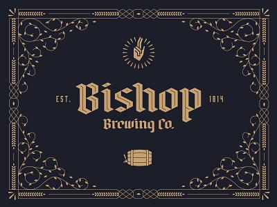 Bishop Brewing Co. typography wordmark logo border ornament ornate flourish pope barrel bishop branding brand brewing brewery brew beer