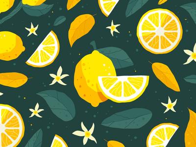 Lemon Pattern flowers illustration fruit foliage floral leaves pattern lemon