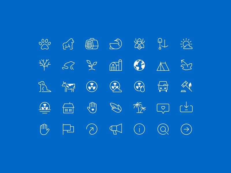 Icon Set iconography bee mining farm globe corn gorilla frog dog tent pollution pets icons icon