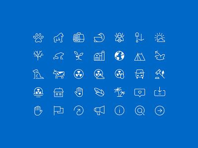 Icon Set iconography bee mining farm globe corn gorilla frog dog tent pollution pets icons icon