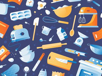 Baking Pattern utensils illustration icons home oven kitchen cooking bakery baking