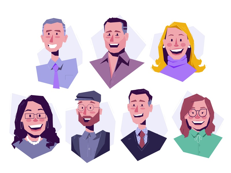 Avatars caricature colleagues bust profile coworkers avatar