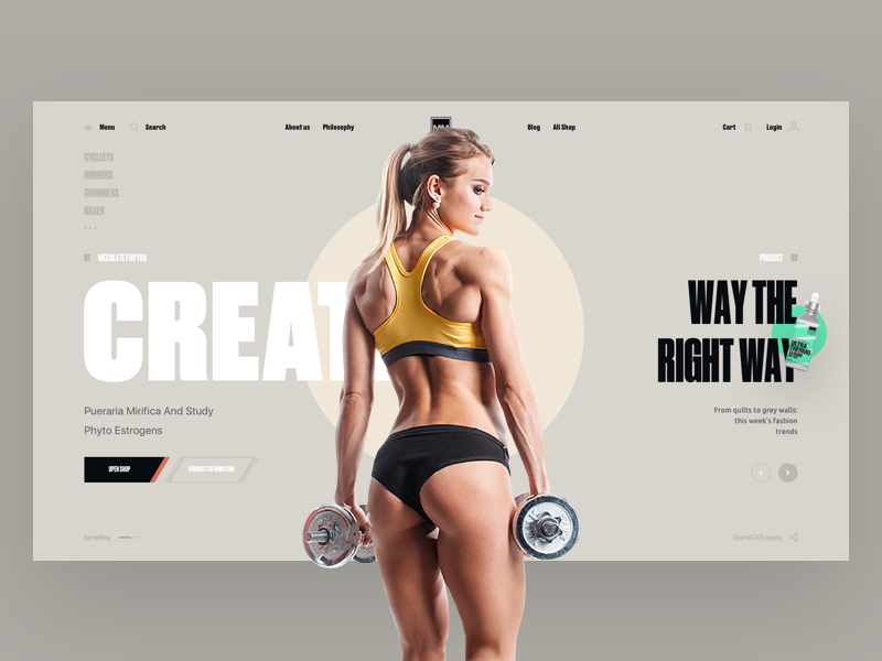 Creatin project interface sport design web ui ux