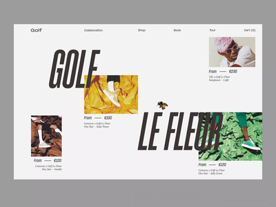 Golf Le Fleur minimal store fashion interaction grid typography after effect interface design ui